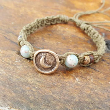 Hemp Bracelet, Adjustable Bracelet, Crescent Moon Jewelry, Moon Bracelet, Jasper Bracelet, Hemp, Adjustable Hemp Bracelet, Hemp Jewelry