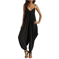V Neck Camisole Loose Strap Strappy Baggy Overalls