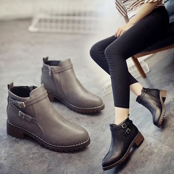 On Sale Hot Deal Korean Winter England Style Round-toe With Heel Dr. Martens Boots [11192774343]