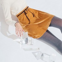 Velvet Dream Skirt (Mustard)