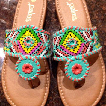 Jack Rogers inspired sandals hand painted in a unique tribal design