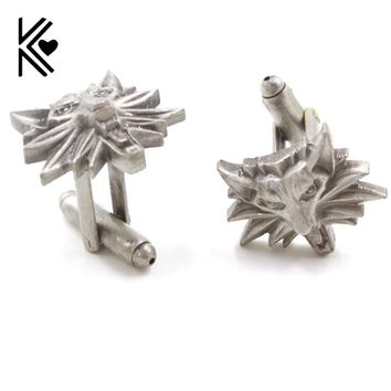 Gothic Punk The Witcher 3 Cufflinks For Mens Wild Hunt Shirt Brand Cuff Buttons High Quality Vintage Wolf Heads Cuff Links Gifts