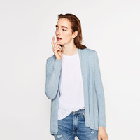 DRAPED NECK CARDIGAN