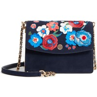 Tory Burch Parker Flower Embroidered Leather Shoulder/Crossbody Bag | Nordstrom