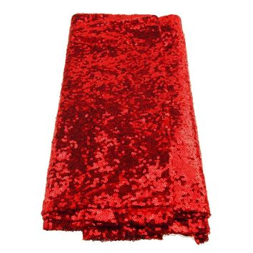 Sparkling Sequins Fabric Table Runner, 14-Inch x 108-Inch, Red