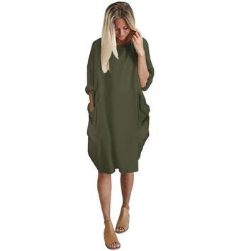 New fashion Womens Pocket Loose Dress Ladies Crew Neck Casual Long Tops Dress Plus Size casual pure color ladies girls dress