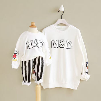 Family clothing 2017 New spring Casual Mom And Child Hoodies Spring Autumn Mom and Baby Set Family Look Girls Boys Hoodies