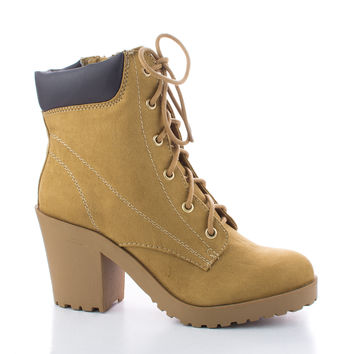 Keelo Lace Up Lug Sole Chunky Heel Ankle Booties