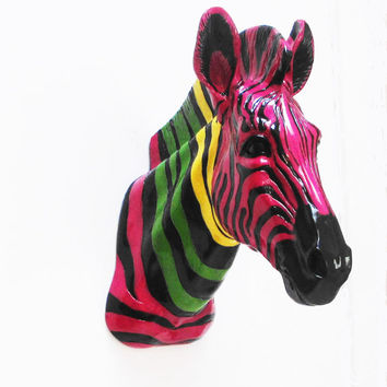 Zebra Head, Faux Taxidermy, Taxidermy, African Decor, Animal Heads, Faux Zebra Head, Home Decor,