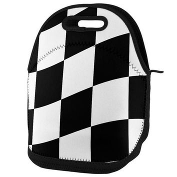 PEAPGQ9 Finish Line Checkered Flag Wave Lunch Tote Bag