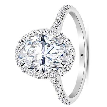 .1.48 Carat GIA Certified 14K White Gold Halo Oval Cut Diamond Engagement Ring (0.73 Ct E Color VS1 Clarity Center)