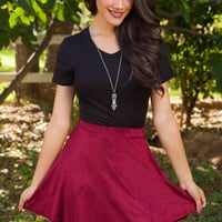 My Girl Suede Skirt - Burgundy