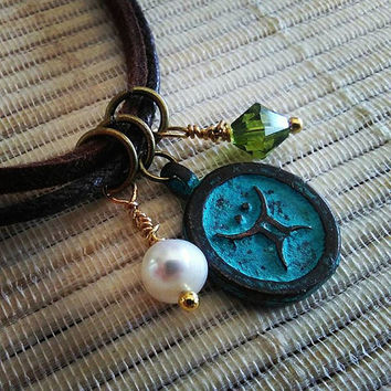 Taurus pendant, Zodiac symbol, Copper astrology sign, Copper Patina Necklace, Zodiac Jewelry, Emerald Freshwater Necklace, Star Sign Pendant