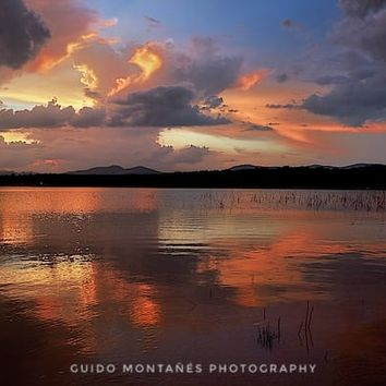 Sunset at the lake after the storm. by