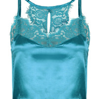 Blue V-neck Lace Trim Racer Back Cropped Cami Top