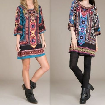 Eliza Bella for Flying Tomato NEW Boho, Hippie Print Bell Sleeve Dress S, M, L