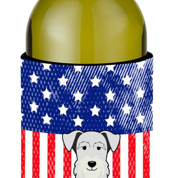 Patriotic USA Miniature Schanuzer White Wine Bottle Beverge Insulator Hugger BB3048LITERK