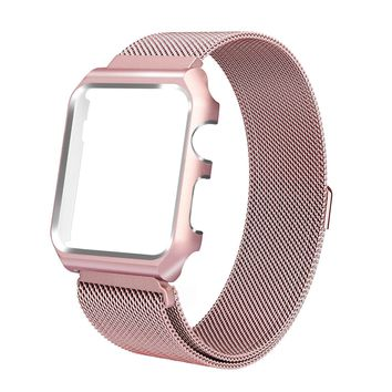 ALNBO 38mm Apple Watch Band Stainless Steel Mesh Magnetic Replacement Wrist Band with Metal Protective Case for Apple Watch Series 3 Series 2 Series 1 Sport&Edition Rose Gold