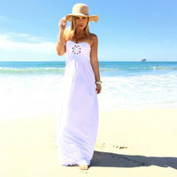 Fashion Women Sleeveless Strapless Floor-Length Dress = 5657691713