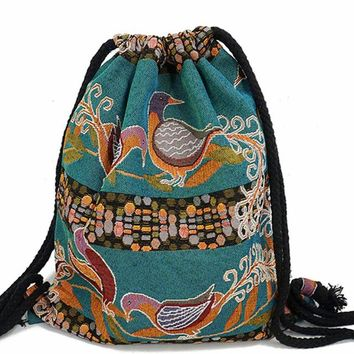 Fabric String Backpack Gypsy Bohemian Boho Chic Aztec Drawstring Bag