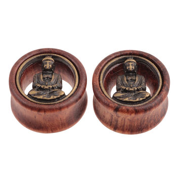 2PCS Wood Buddha Insert Ear Plugs Tunnels Flesh Ear Tunnels Piercing Expanders Earring Gauges 12mm-30mm Stretchers Body Jewelry