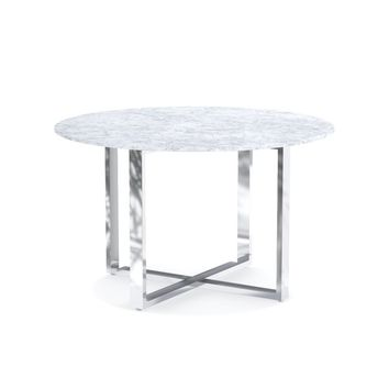 Mercer Round Dining Table with Carrara Marble