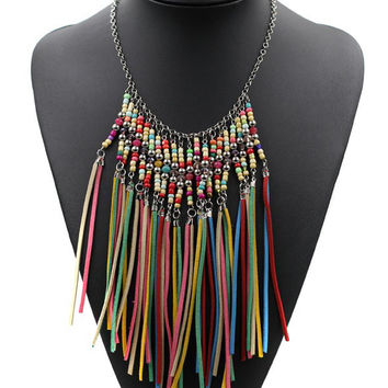 Faux Leather Tassels Boho Necklace