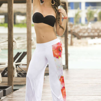 Floral Painted Beach Summer Pants