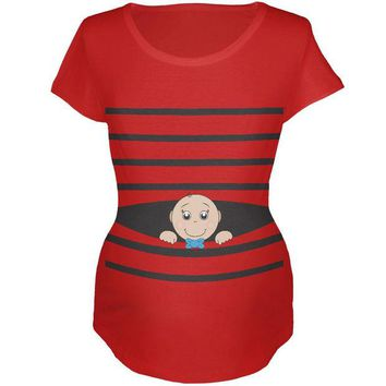 Chenier Striped Peeking Baby Boy White Maternity T-Shirt