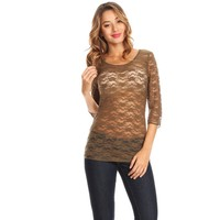 37610-Olive, sheer lace top