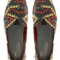 TOMS Seasonal Classic Red Indo Flat Shoes at asos.com
