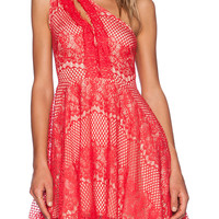 Red Lace One Shoulder Cut Out High Waist Mini Skater Dress
