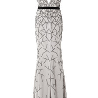 Stretch Faille Embroidered V-Neck Gown by Bibhu Mohapatra - Moda Operandi