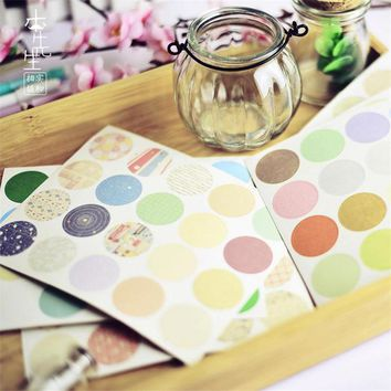 160 pcs/lot DIY Cute Kawaii Round Paper Sticker Lovely Dot Grid Stripe Sticker For Home Decoration Free Shipping 1051