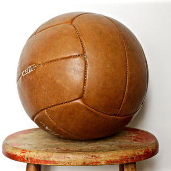Large Vintage Leather Medicine Ball - Antique Gym Decor - Shop Display or Prop