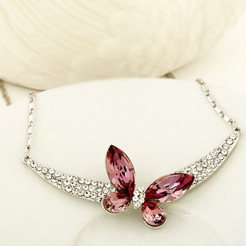 2015 Mother's Day gift! Original Austrian crystal necklace Butterfly Jewelry Anniversary birthday