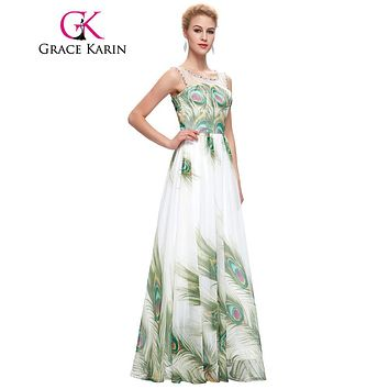 New Long Prom Dress 2017 Grace Karin Elegant Chiffin O Neck Empire Waist Printing Peacock Formal Party Prom Gowns Robe De Soiree