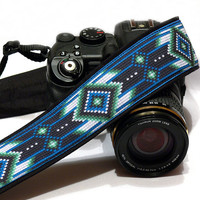 Native American Camera Strap, Inspired. Tribal Camera Strap, Southwestern, Black Blue Green Camera Strap, Camera  Accessories