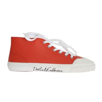 Dolce & Gabbana Red Leather Logo Ankle Sneakers