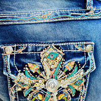 GRACE IN L.A. BOTANICAL CROSS BOOTCUT JEANS