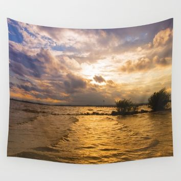 Weather over the lake Wall Tapestry by Tanja Riedel