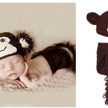 Newbron Handmade Baby Girl/Boy Crochet Knit Clothes Photo Photography Prop Outfit monkey style Photo Props clothes = 1958197828