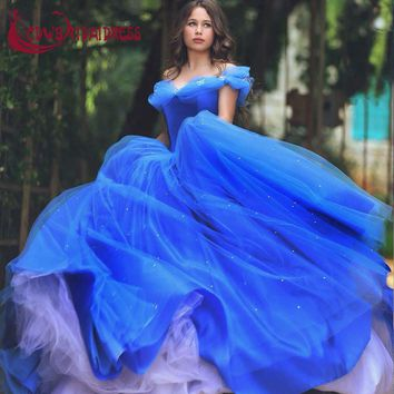 Royal Blue Deluxe Cinderella Princess Prom Dresses 2017 Tulle Ball Gown Quinceanera Gowns With Beading Zipper Sparkling Skirt