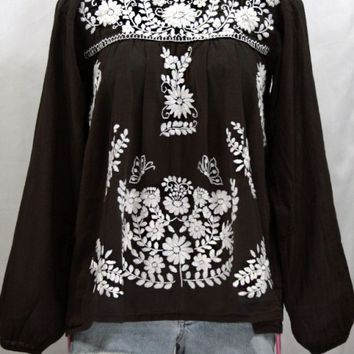 """La Mariposa Larga"" Embroidered Mexican Blouse - Dark Chocolate"