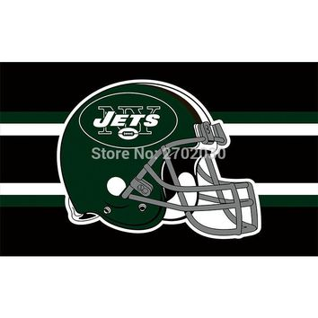 Black Helmet Design New York Jets Flag Banners Football Team Flags 3x5 Ft Super Bowl World Champions Banner Decoration Polyester