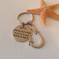 OFD, Obsessive fishing disorder keyring, fisherman, fishing keyring, fish hook, fathers day, gifts for him