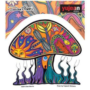 "Dan Morris - MUSHROOM - 4.5"" x 4"" - Extra Long Lasting, In/Outdoor, Weather/UV Resistant, Clear Back, Die-Cut Vinyl STICKER / DECAL"
