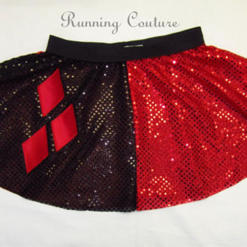 Harley Quinnfrom Batman inspired Sparkle Running Misses circle skirt