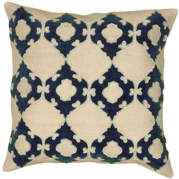 Petersburg Jute and Velvet Navy Blue Pillow