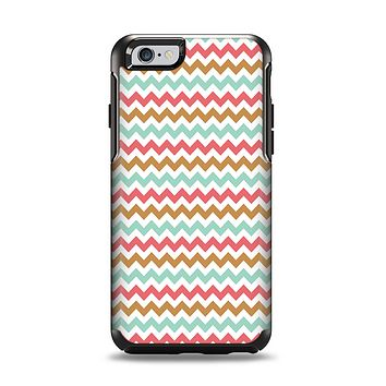 The Vintage Brown-Teal-Pink Chevron Pattern Apple iPhone 6 Otterbox Symmetry Case Skin Set